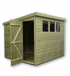 pent garden shed with 3 windows