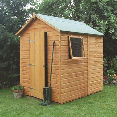 this rowlinson premier 7x5 apex garden shed is built using 12mm tongue groove shiplap this shed is ideal and has plenty of storage space for your garden - Garden Sheds 7x5