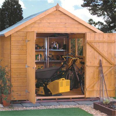 This Rowlinson Premier 10X8 apex garden shed is built using 12mm tongue & groove shiplap. This shed has ample of storage space for your garden furniture and tools or for use as a workshop.